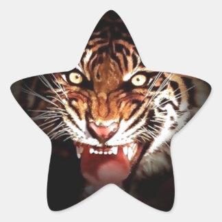 Tigre Calcomanías Forma De Estrella