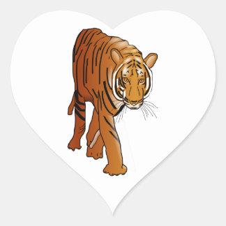 Tigre Calcomanías Corazones