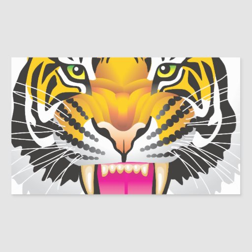 Tigre Pegatina Rectangular