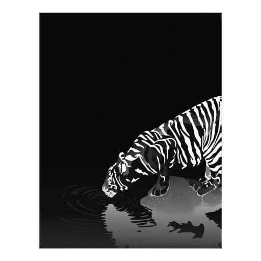 Tigre pelado animal abstracto membrete