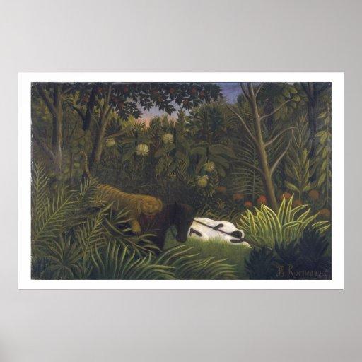 Tigre que ataca un caballo y a un hombre negro dur póster