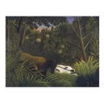 Tigre que ataca un caballo y a un hombre negro tarjeta postal