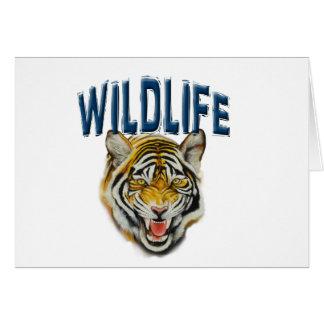 Tigre que gruñe con fauna de las palabras tarjeta de felicitación