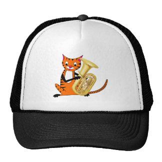 Tigre que juega la tuba gorra