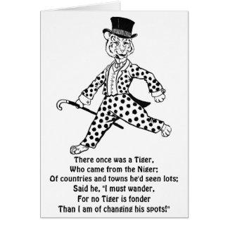Tigre que lleva el juego manchado tarjeta de felicitación