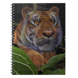 Tigre que se agacha cuadernos