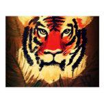Tigre que se agacha postal