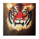 Tigre que se agacha tejas