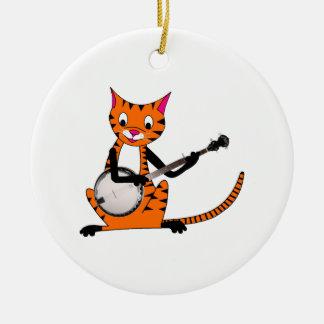Tigre que toca el banjo ornamento de navidad