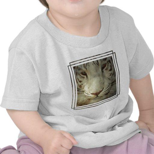 Tigre rayado blanco camisetas