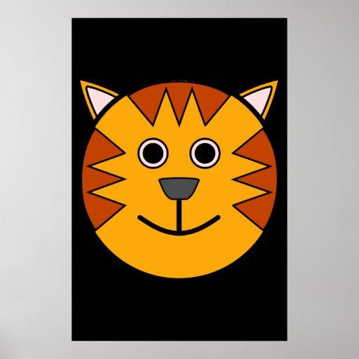Tigre redondo lindo del dibujo animado póster