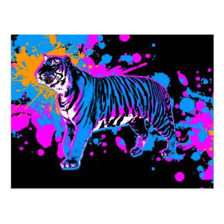 Tigre retro de la salpicadura de la pintura de los postales