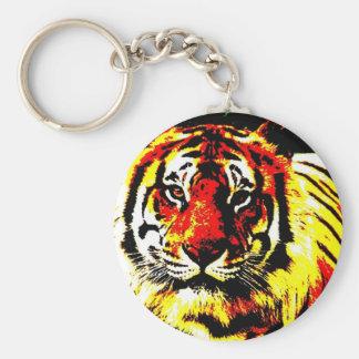 Tigre retro llavero redondo tipo pin