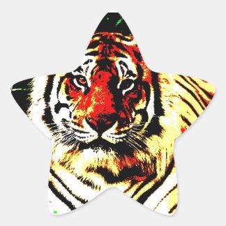 Tigre retro pegatina forma de estrella personalizadas