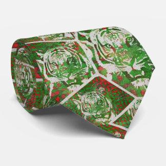 Tigre rojo verde fluorescente corbatas personalizadas