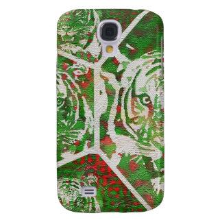 Tigre rojo verde fluorescente funda para galaxy s4