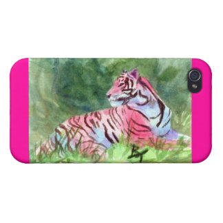 Tigre rosado iPhone 4 fundas