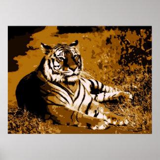 Tigre salvaje amarillo elegante de moda de Brown Póster
