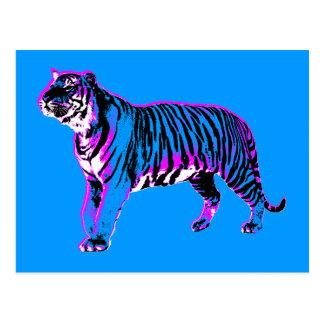 Tigre salvaje del vintage retro de los años 80 del postal