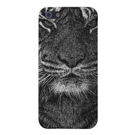 Tigre salvaje en blanco y negro iPhone 5 protectores