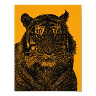 """Tigre salvaje en blanco y negro invitación 4.25"""" x 5.5"""""""