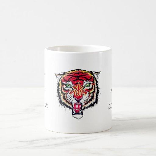 Tigre salvaje enojado del dibujo animado del taza