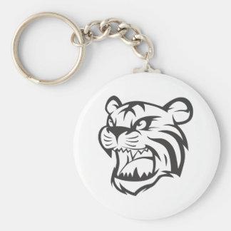Tigre salvaje llavero redondo tipo pin