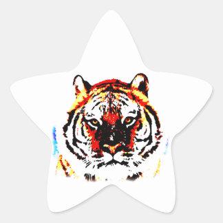 Tigre salvaje pegatina en forma de estrella