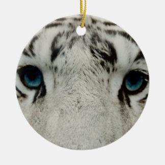 Tigre siberiano blanco adornos de navidad