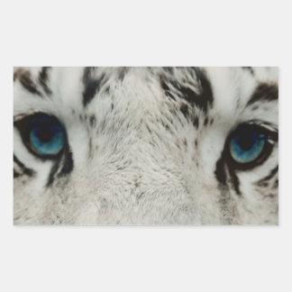 Tigre siberiano blanco pegatina rectangular