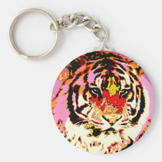 Tigre siberiano llavero redondo tipo pin