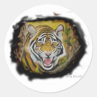Tigre siberiano etiqueta redonda