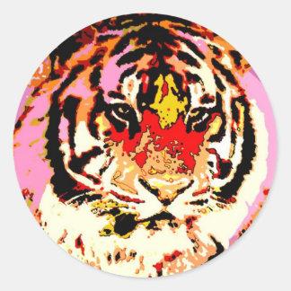 Tigre siberiano pegatina redonda