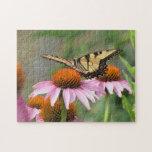 Tigre Swallowtail en Coneflower púrpura Rompecabeza