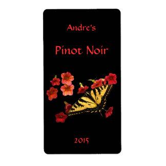 Tigre Swallowtail en etiqueta floral roja del vino Etiqueta De Envío