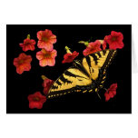 Tigre Swallowtail en las flores rojas Felicitaciones