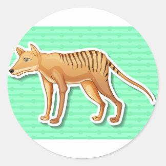 Tigre tasmano pegatina redonda