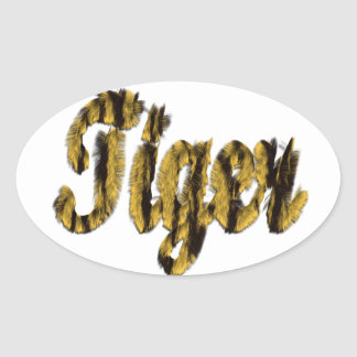 Tigre - texto peludo calcomania de óval personalizadas