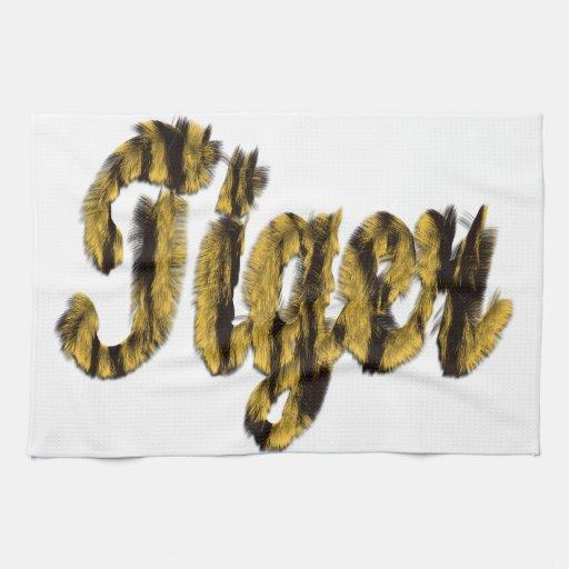 Tigre - texto peludo toalla de mano