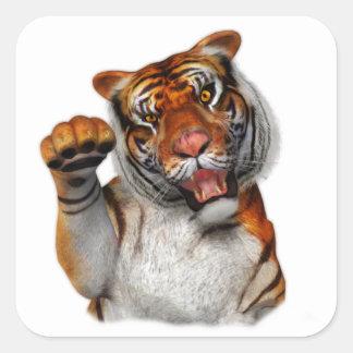 Tigre, tigre pegatina cuadrada