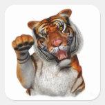 Tigre, tigre pegatina cuadradas personalizadas