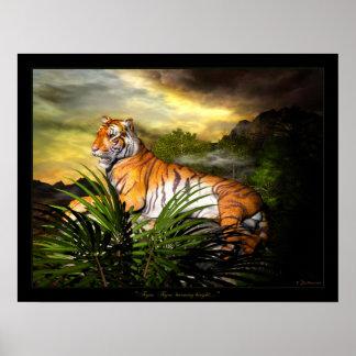 Tigre, tigre, poster brillante ardiendo póster