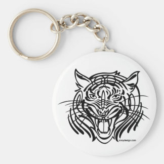 Tigre tribal llavero redondo tipo pin
