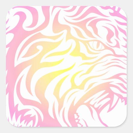 Tigre tribal pegatina cuadrada