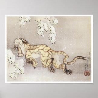 Tigre viejo en la nieve, Hokusai, 1849 Póster