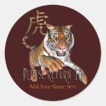 Tigre y Bookplate chino del símbolo Pegatina Redonda