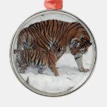 Tigre y cachorro en la foto hermosa de la nieve, adorno para reyes