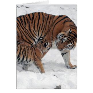 Tigre y cachorro en tarjeta de nota en blanco de e