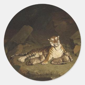 Tigre y Cubs Jean-León Gerome 1884 Pegatina Redonda
