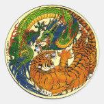 Tigre y dragón Yin Yang Etiqueta Redonda